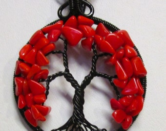 Tree of Life, Red Coral Tree of Life, Red and Black Tree of Life, Red and Black Jewelry, Red and Black Necklace