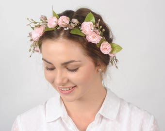 Flower Crown Wedding Hair Piece Floral Headpiece Woodland Flower Wreath Bridal Headband Rustic Head Wreath Woodland Wedding Pink Rose Crown
