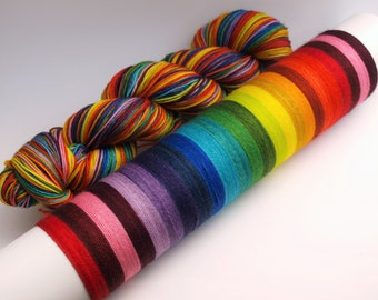 Ready To Ship: Self Striping Fingering Weight Sock Yarn, Super Sock, Wool and Nylon, 20 Color Stripe, Hand Dyed, Chromatic