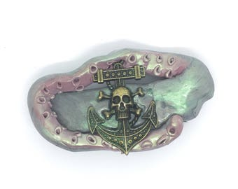 Hand Sculpted Clay Kraken Tentacle and Metal Skull and Anchor Hair Clip
