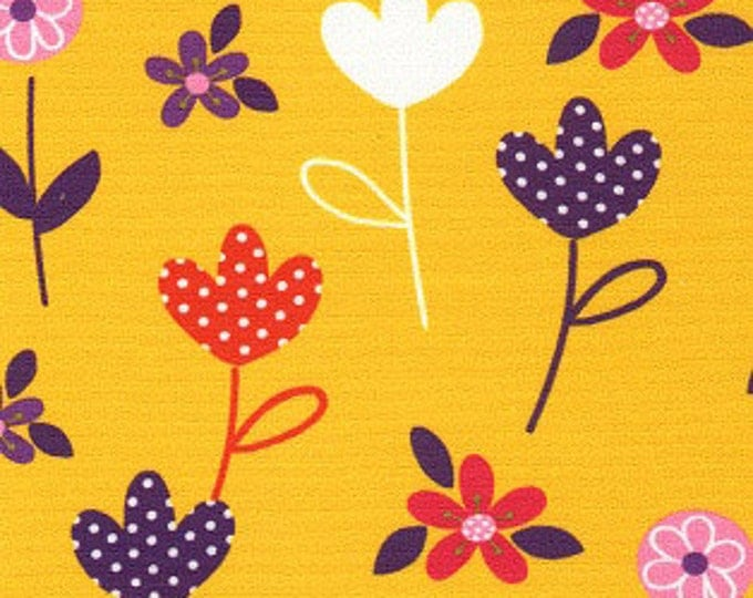 Print Fabric / Bold Floral Fabric / Cotton / Yellow Fabric / Fabric Finders 1229