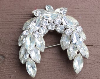 Stunning Huge Clear Two Layer Clear Rhinestone Brooch Pin