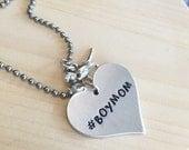 Hand Stamped #Boymom Necklace