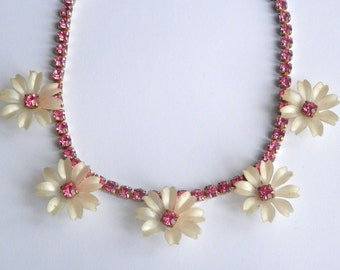 Vintage 1950s Necklace, Pink Floral Rhinestones, Pin-Up, Antique Jewellery