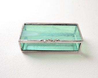 Mint Glass Box, Glass Box, Glass Display Box, Glass Jewelry Box, Jewelry Box, Gift For Girlfriend, Bridesmaid Gift