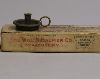 Antique Candle Holder and Candles, Lilliputian Set in Elongated Matchbox, Will & Baumer Co.  Syracuse NY