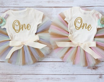 Gold twin girls first birthday outfit, twins first birthday gold twin outfits, twin girl clothing, twin girl cake smash twin birthday outfit
