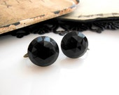 Vintage Faceted Black Faux Glass Dome Clip On Screw Back Earrings YY32