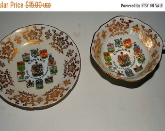 Christmas sale Paragon China Tea cup and saucer  Canadian Coat of Arms  gold china