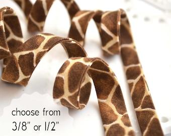 "giraffe - double fold, bias tape - 3 yards, CHOOSE 3/8"" or 1/2"" wide"