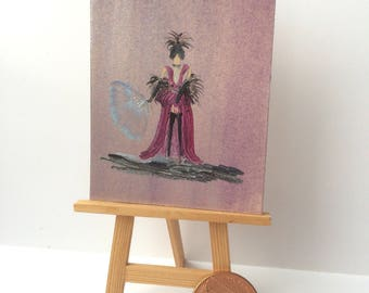 Burlesque  or old days musical dancer | ACEO | Original Miniature Painting | Collectible Art Card | Miniature Art | Artist Hazel Rayfield |