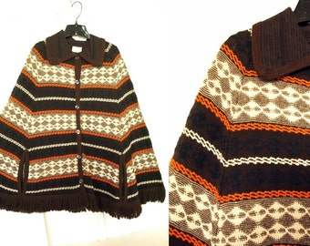 Vintage 70s brown striped poncho button up cardigan sweater shawl fringe cape S M or L one size