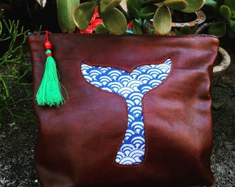Hand Stitched Leather with Kimono Fabric  Clutch