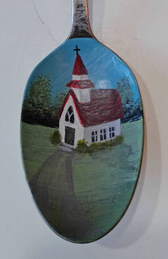 Country church, Painted metal spoon, landscape, Collectible Painted Spoon,Christian art, Small Gift, country art, home decor, ornament