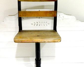 Vintage Soda Fountain Soda Shop Bar Stool Wood Cast Iron Base Chair Stool Adjustable