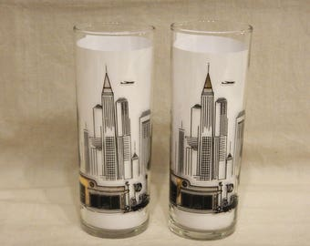2 BA British American Gas Oil Glass Beverage Tumblers Skyscrapers Cocktail Drinking Glasses Sawtell Dominion