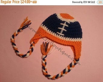 SALE 20% OFF Baby Earflaps Football Winter Hat NFL College - Pick Favorite Team Colors - Newborn Beanie Halloween  Costume Outfit
