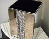 Gorgeous Hollywood Glam bevelled Mirrored and Rhinestone Trashcan