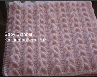 Baby Blanket Knitting Pattern PDF- Baby Shell Blanket-Easy Knit Blanket Pattern-Online Knit Pattern-DIY