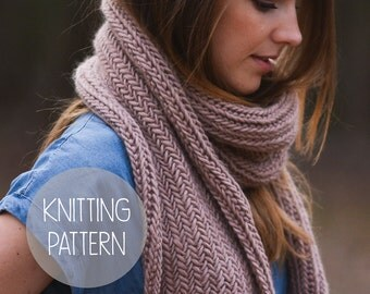 knitting pattern easy herringbone scarf