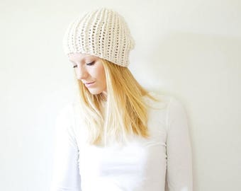 SPRING SALE chunky knit hat womens fitted hat beanie - fisherman - the LATTA