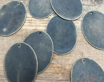 6 - Large Oval Stamping Blanks - Antique Bronze Bail Charms Tag Charm Charm Logo Charm Personalized Jewelry Making Supplies (AQ027)