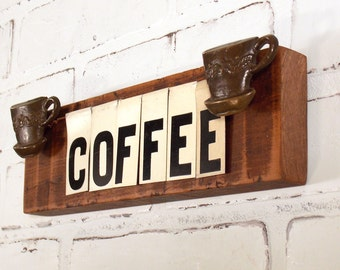 COFFEE Sign, Reclaimed Wood Plaque, Cafe Wall Signage, Book Shelf Decoration, Repurposed Vintage Tin Letters, Coffee Cups, Kitchen Accent