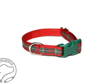 "MacGregor Clan Tartan Small Dog Collar - Thin Dog Collar - 1/2"" (12mm) Wide - Green and Red Plaid - Choice of style and size"