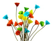 SUPPLY: 14 Colorful Glass Flower Headpin - Millinery - Flower Beads - Glass Flowers - Handcrafted - (7-D3-00007262) OS 7-70