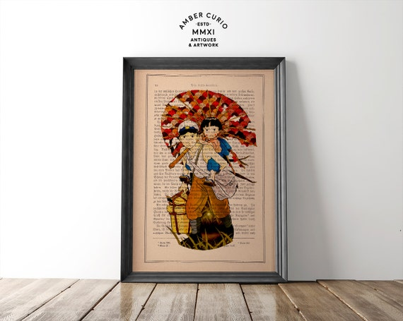 Grave of the Fireflies Seita and Setsuko Studio Ghibli Inspired Art Print on a Unique Unframed Upcycled Antique Bookpage