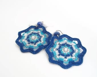 Big earrings - Crochet blue earrings - Fashion crochet - Textile jewelry