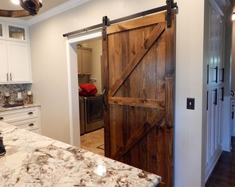 Atlanta Interior Sliding Barn Door - Double Z Style Rustic Plank - Single Barn Door - Includes Sliding Door Hardware and Track