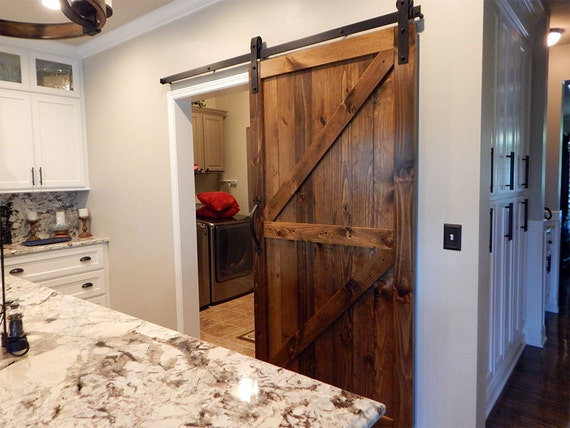 Atlanta interior sliding barn door double z style rustic for Single sliding barn door
