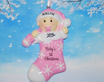 Personalized Baby Girl First Christmas Stocking Ornament