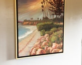 Beach oil painting, Original oil painting of butterfly beach, Butterfly Beach in Montecito, Beach oil painting