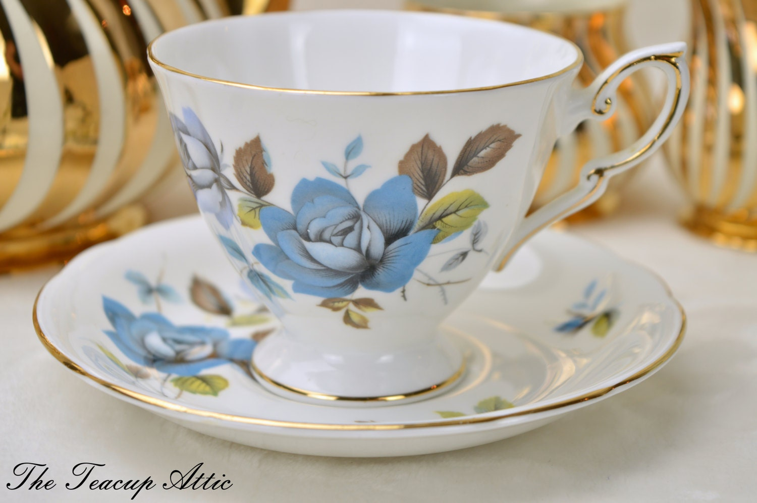 Royal Standard Teacup and Saucer With Blue Roses, English Bone China Tea Cup Set, Wedding Gift,  ca. 1949-