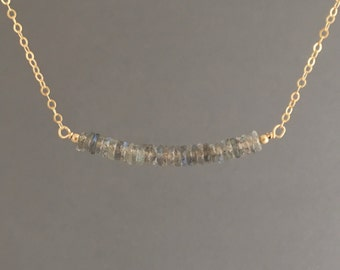 Labradorite Beaded Necklace Gold, Rose Gold, or Silver