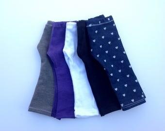 Doll leggings, you choose color, 18 inch doll leggings, gray, purple, white, black, denim, doll pants