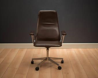 Mid Century Leather Office Chair by Kevi