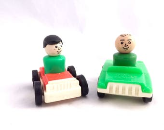 Fisher Price Little People and Cars, Two Fisher Price Little People Dads, Two Fisher Price Cars