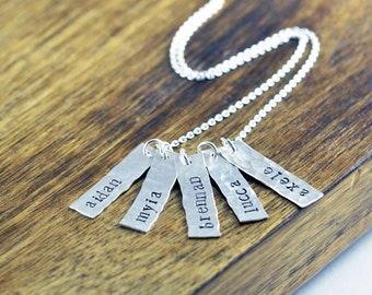 Christmas Gift for Mom - Name Tag Necklace for Mom - Silver Name Necklace Bar - Hand Stamped Name Necklace - Name Pendant - Mothers Jewelry