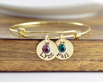 Gold Bangle Bracelet - Personalized Names Bangle Bracelet - Hand Stamped Jewelry - Name Birthstone Bracelet - Family Bangle Bracelet Gift