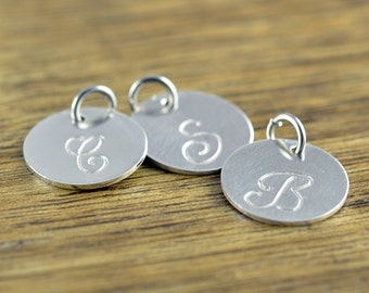Add On Disc, Sterling Silver Disc, Engraved Disc, Hand Stamped Charm, Personalized Disc, Monogrammed Disc, Add on Disc Charm