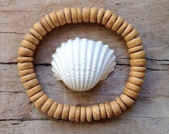 coconut wood bracelet, beach bracelet, bohemian accessory, beach jewelry, beachcomber jewelry