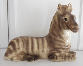 Large Ceramic Zebra Sculpture