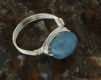 Wire Wrapped Gemstone Ring, Sterling Silver Wire Wrapped Beaded Ring, Blue Angelite Stone Wire Wrapped Ring