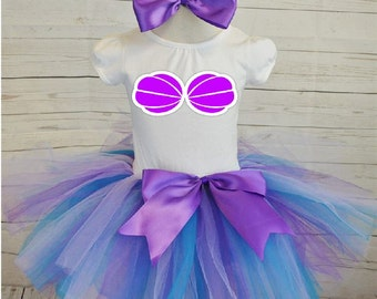 little mermaid birthday outfit, FREE SHIPPING,  colorful tutu, purple blue tutu, seashell outfit, mermaid birthday outfit