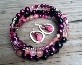 Gemstone, Pearl, and Crystal Jewelry Set in Pink, Purple and Black