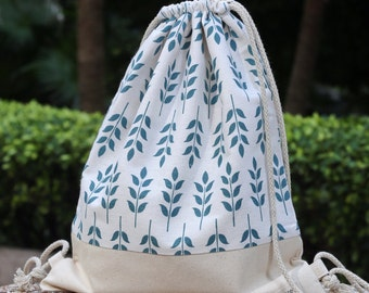 Drawstring backpack/ Cotton backpack/ Drawstring bag/ handmade backpack/ Gym bag/ Swim bag ~ Green leaves (B92)