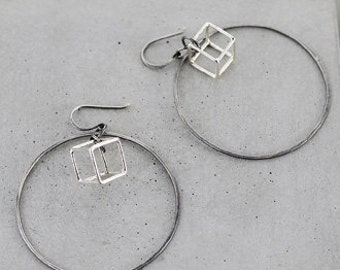 Cube in Hoop Earring, statement hoops, delicate 3D earrings, modern geometric jewelry
